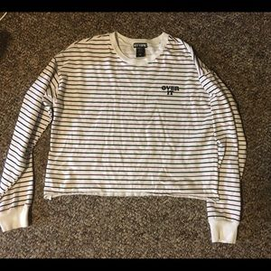 """Hot Topic - """"Over It"""" Striped Long Sleeve Tee"""